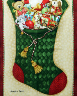 Santa´s Here Christmas Stocking Panel