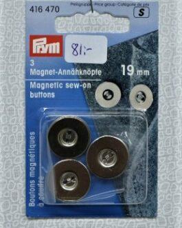 Magnetisk Sy på-knapp Silver 19mm